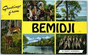 BEMIDJI Minnesota Big Letter Postcard Multi-View Indians Fish Deer Kropp Linen