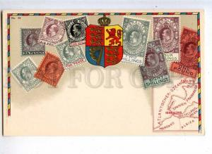 231944 GIBRALTAR Coat of arms STAMPS Vintage Zieher postcard