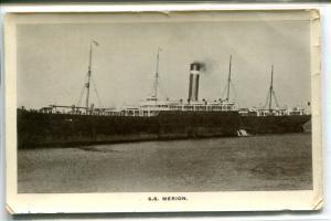 SS Merion Ocean Liner Steamer Ship Postmarked Queenstown Ireland 1907 postcard
