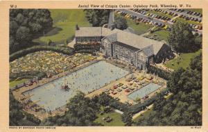 Wheeling West Virginia~Oglebay Park~Lots of People @ Swimming Pool~1953 Postcard