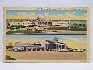 Washington National Airport Terminal Wash DC Clasic Cars Curteich postcard