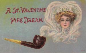 Valentine's Day Pipe Dream Beautiful Woman In Pipe Smoke