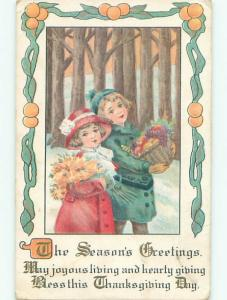 Pre-Linen thanksgiving CUTE GIRL HOLDS FLOWERS & BOY WITH FRUIT BASKET k8864