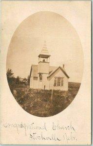 1908 STOCKVILLE, Nebraska RPPC Real Photo Postcard Congregational Church