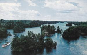 The Thousand Islands, Boat, Trees, Thousand Islands, Ontario, Canada, 40´s-6...