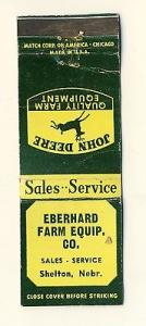 Shelton, Nebraska/NE Matchcover, Eberhard Farm Equipment,...