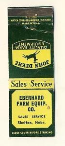 Shelton, Nebraska/NE Matchcover, Eberhard Farm Equipment,...