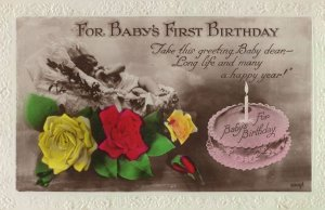 Birthday Cake For Babys First Birthday Old Real Photo Postcard