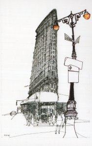 Flatiron District Signpost New York City Sketch Painting Postcard