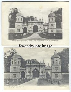 tq0295 - Lincs - Two Views of Burghley Lodge, Entrance to the Park - 2 postcards