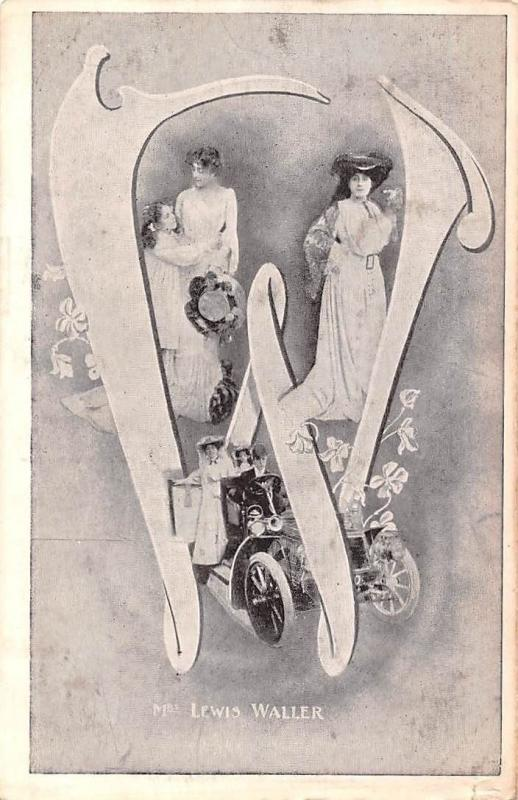 Alphabetic W Big Large Letter, Mrs. Lewis Waller, Theater, Actresses, Old Car