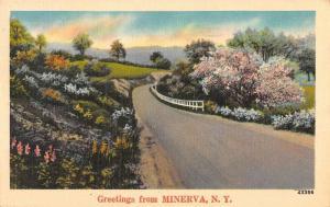 Minerva New York Scenic Roadway Greeting Antique Postcard K89533