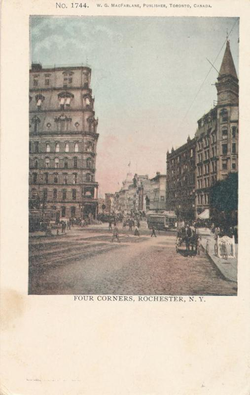 Four Corners, Rochester, New York - Horse Carriage Bicycle Trolley - PMC