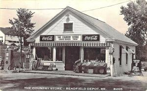 Readfield Depot ME The Country Store Tydol Gas Pump Fruit Stand RPPC Postcard