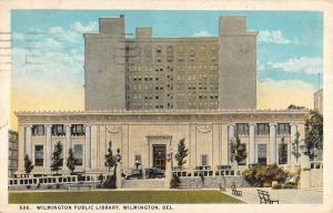 Wilmington Delaware Public Library Exterior Street View Antique Postcard K26354