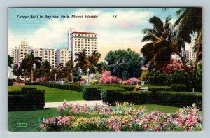 Miami FL-Florida, Miami's Bayfront Park Blooming Flower Beds, Linen Postcard