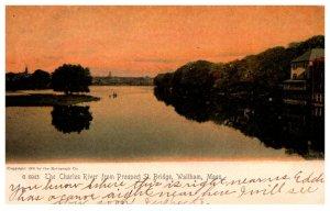 Massachusetts   Waltham The Charles River from Prospect St. Bridge, at dusk