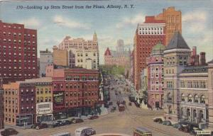 New York Albany Looking Up State Street From The Plaza 1947