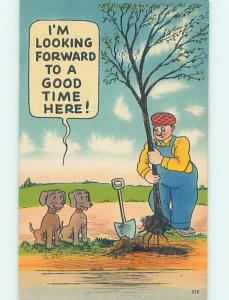 Linen comic DOGS LOOK FORWARD TO PEEING ON NEWLY PLANTED TREE HJ2039