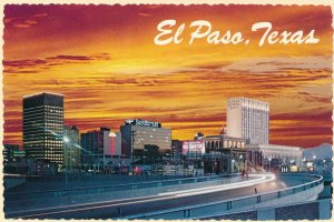 El Paso TX, Texas - Freeway and Skyline at Sunset