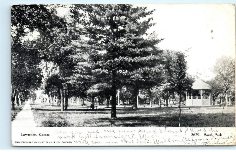 Lawrence Kansas 1907 South Park Black and White B&W old Vintage Postcard A60