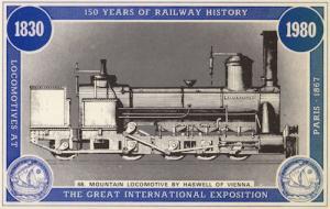 Haswell Of Vienna Mountain Locomotive Paris Exposition Train Postcard