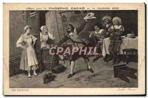 Old Postcard Fencing Phospho Cacao A Hero