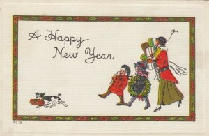 NEW YEAR; A Happy New Year, 1900-10s; Family out shopping, Dog carrying present