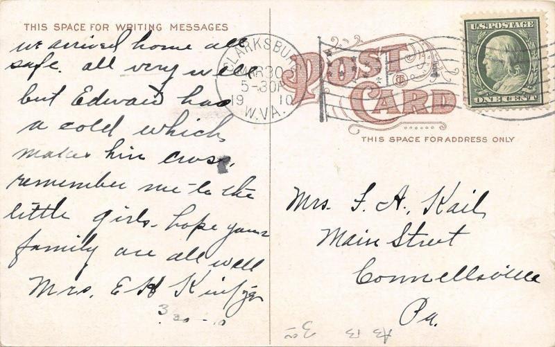 Clarksburg WV~Main Street~Philip Adler Clothier~Empire~Depot Trolley~1910 PC