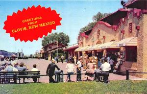 Clovis NM Busy Scene at The Santa Fe Terminal Postcard