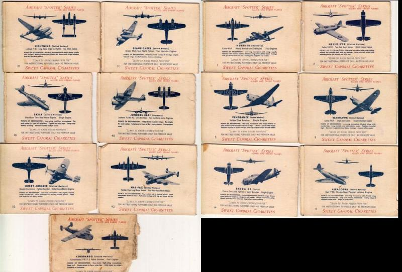 13 - Aircraft Spotter Series Cards, Sweet Caporal Cigarettes