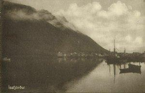 iceland, ÍSAFJÖRÐUR, Harbour with Sailing Boats (1910s) Postcard