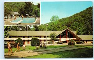 Twin Islands Motel Restaurant Little Pigeon River Gatlinburg TN Postcard D41