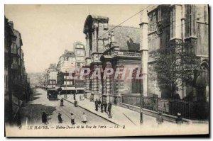 Old Postcard Le Havre Notre Dame and Rue de Paris