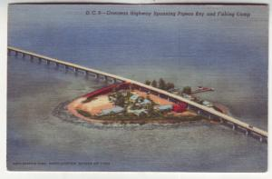 P537 JLs 1930-45 linen birds eye view oversea hwy spanning pigeon key