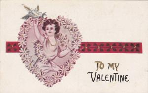 To My Valentine, Child among flowers holding dove, 00-10s