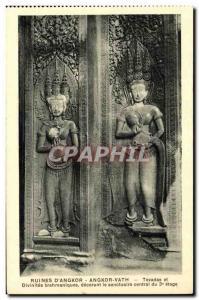 Postcard Ancient Ruins Cambodia Angkor D Angkor Vath Tevadas and Brahmanical ...