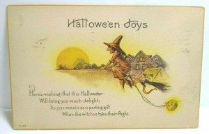 Vintage Halloween Joys Postcard Nash Witch Takes Flight Antique Original H 429