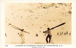 MT. Washington NH Skiing Tuckerman Ravine Real Photo RPPC Postcard
