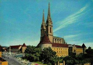 Croatia Zagreb Kaptol Street Vintage Cars Church Eglise Postcard