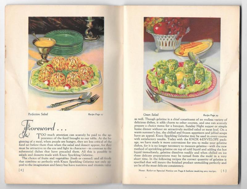 Knox Gelatine Advertising Recipe Cookbook 1933 Booklet