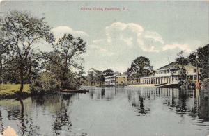 Pawtuxet Rhode Island birds eye view canoe clubs antique pc Y10813