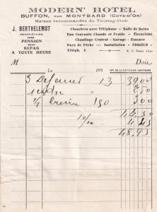 Modern Hotel Buffon Par Montbard Cote D'or 1940s Receipt
