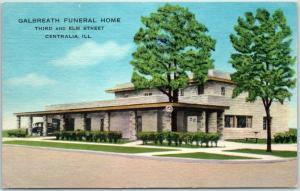 Centralia, Illinois Postcard GALBREATH FUNERAL HOME 3rd & Elm Street Linen 1950s