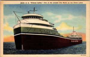 Old Michigan Ship Postcard - S.S. Wilfred Sykes - Great Lakes Ore Boat