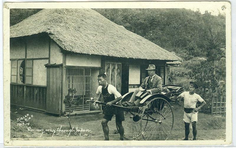 RPPC, Man Riding in Hackney On My Way Through Japan