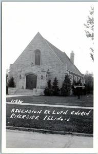 Riverside, Illinois RPPC Photo Postcard Ascencion Evangelical Lutheran Church