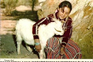 New Mexico Navajo Indian Maiden and Her Goat