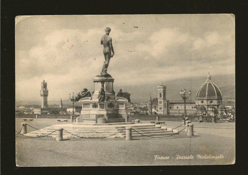Postmarked 1952 Firenze Italy Piazza Michelangelo Postcard