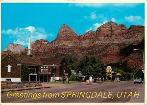 Springdale Utah Zion National Park Highway 15 Pioneer Lodge Restaurant Postcard